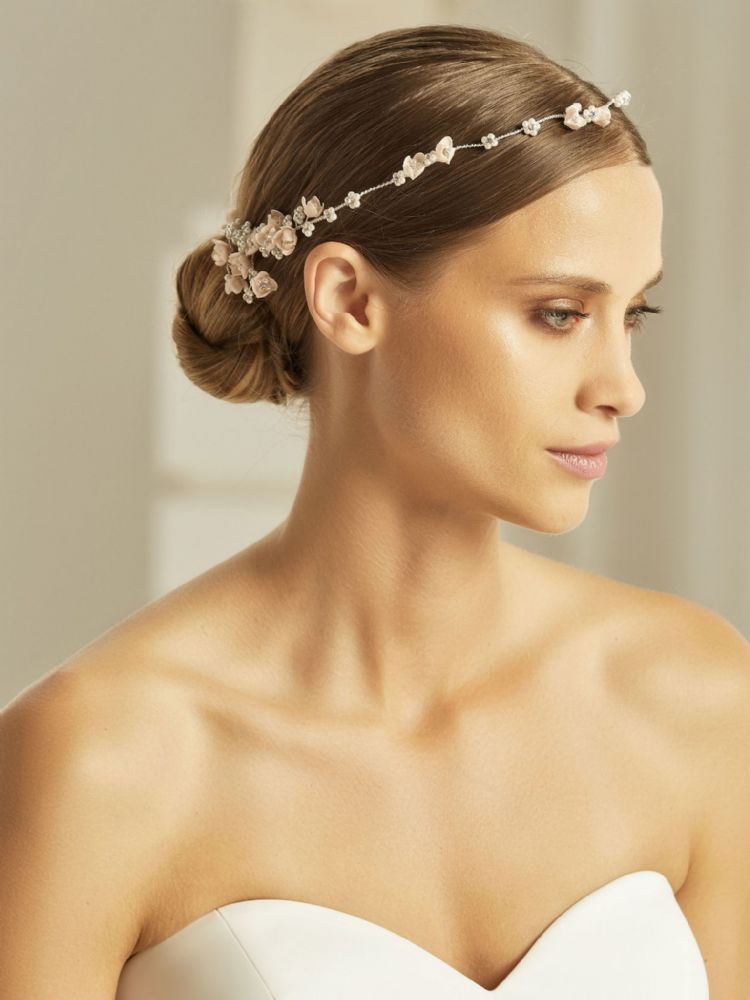 Bridal Hair vine made with flowers, crystals and pearls